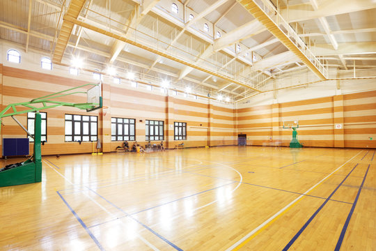basketball court in modern gym