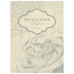 Wedding invitation with roses. Greeting Card in an  vintage-style.