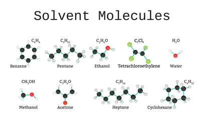Solvent molecules set