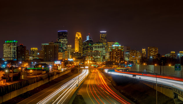 Light  streaks under the Minneapolis skyline