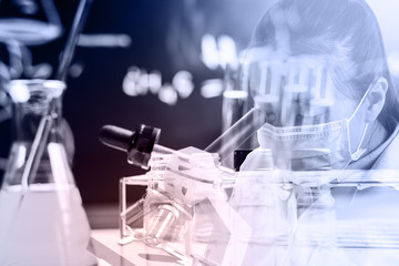 Laboratory glassware containing chemical liquid, science researc