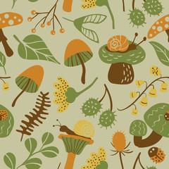 Nature seamless pattern with mushroom, ladybird, snail, flower a