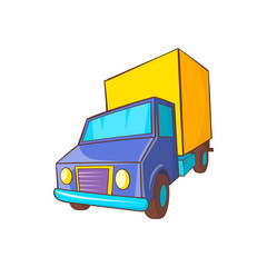 Truck delivery icon in cartoon style on a white background