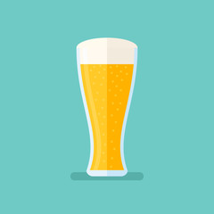 Glass of light beer isolated on background. Lager vector illustration. Flat style icon.