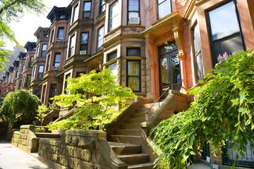 Row of brownstones in New York City