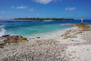 The Tiputa pass, atoll of Rangiroa, Tuamotu archipelago, French Polynesia, Pacific ocean