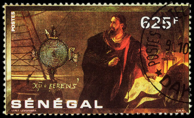 Christopher Columbus with a map on postage stamp