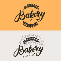 Set of bakery and bread logo. Wheat ears. Hand written lettering calligraphy logotype, badge, label, emblem. Vector illustration.