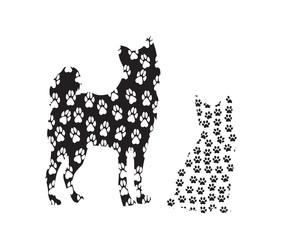 Собака и кошка, образ в следах