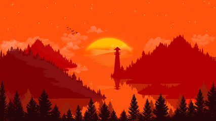 Wall Murals Red Flat landscape Sunset and islands