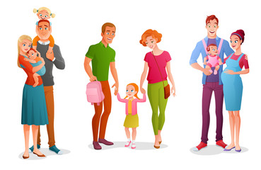 Set families with children. Vector illustrations isolated on white background.