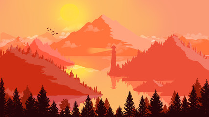 Door stickers Red Flat landscape Sunset and islands