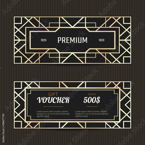 Set of two gift vouchers in Art Deco style. Gift card template ...