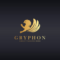 Gryphon logo. Logo template suitable for businesses and product names. Easy to edit, change size, color and text.