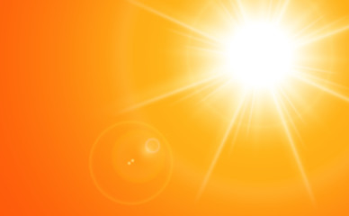 Sun with lens flare, orange vector background.