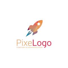 Polygonal rocket logo. Rocket icon. Abstract elegant business icon.