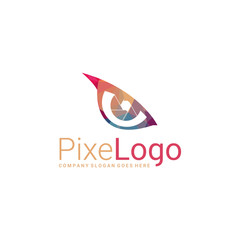 Polygonal eye logo. Eye icon. Abstract elegant business icon.