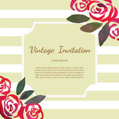 Invitarion card with watercolor vintage roses