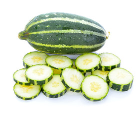 Cantaloupe melon (Cucumis melon) young on white background.