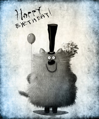 Birthday Black White Card Cat With Top Hat Holding Flowers