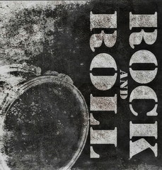 rock and roll music with drum on old grunge background, illustration design elements