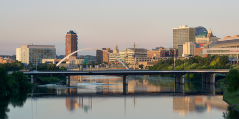 Downtown Des Moines and the Des Moines River Wall mural