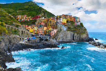 Village of Manarola, on the Cinque Terre coast of Italy, june 20