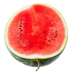 above view of half ripe watermelon isolated