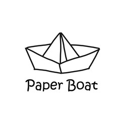 Paper boat cartoon concept
