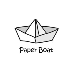 Paper boat cartoon concept style logotype