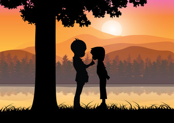Romantic under the tree, Vector illustrations