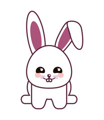 rabbit kawaii animal cartoon cute icon. Flat and Isolated design. Vector illustration