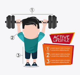 boy man cartoon weight lifting healthy lifestyle gym fitness icon. Colorful design. Vector illustration