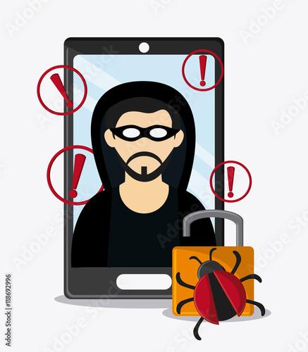 """hacker smartphone padlock bug cyber security system ..."