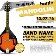 Mandolin Festival poster / Mandolin battle / live concert acoustic / folk music / indie / music modern poster / music poster / music festival /