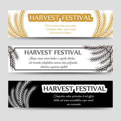 Agriculture horizontal banner set with wheat. Vector harvest festival banners