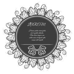 Circle banner with grape leaves wreath vector