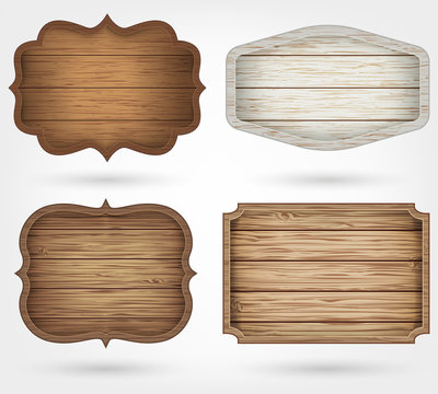 Wooden signs collection. 4 realistic wooden signs on isolated background. Vintage style.
