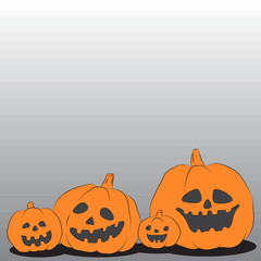 Illustration of family of Halloween pumpkins