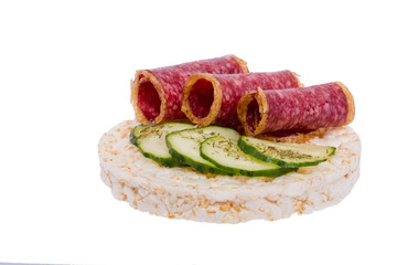 Sandwich with sausage and cucumber