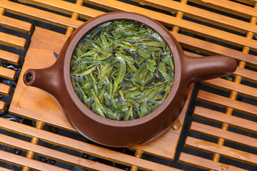 dried tea leaves closeup as background