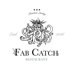 Seafood restaurant and seafood menu identity - Logo with God of Sea Poseidon. Vector Illustration