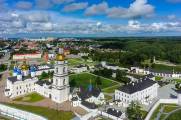 Tobolsk, Russia - July 15, 2016: Aerial view onto Tobolsk Kremlin with St. Sophia-Assumption Cathedral and belltower in summer day. Tyumen region