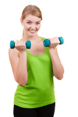 Woman exercising with dumbbells lifting weights