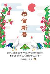 2017年酉年の干支のニワトリと梅の花と日の出のイラスト年賀状テンプレート