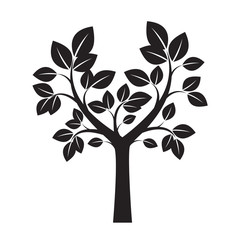 Shape of Black Tree and Leafs. Vector Illustration.