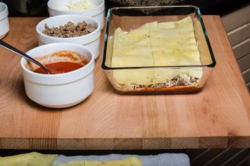 Ingredients for making lasagne