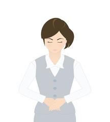 受付の女性(シリアスなイメージ・お辞儀・謝罪)