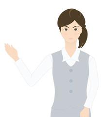 受付の女性(シリアスなイメージ・案内・説明)