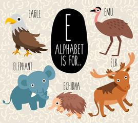 Cute Animal Alphabet Set : Letter E: Vector Illustration